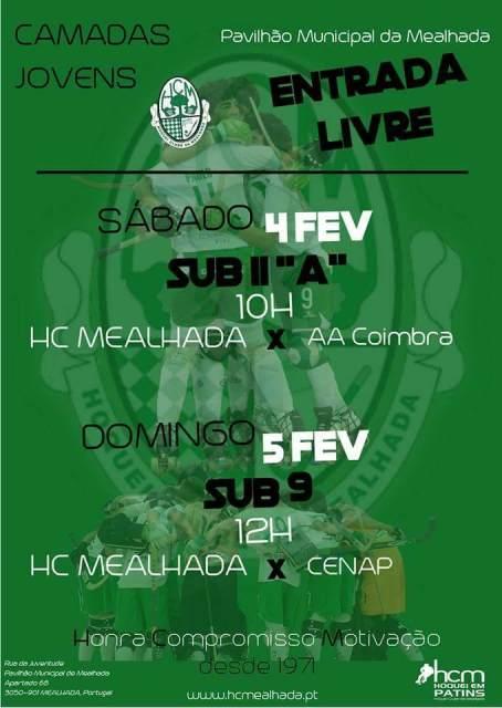 Confira os jogos de fim-de-semana da formação do HCM, no Pavilhão Municipal da Mealhada