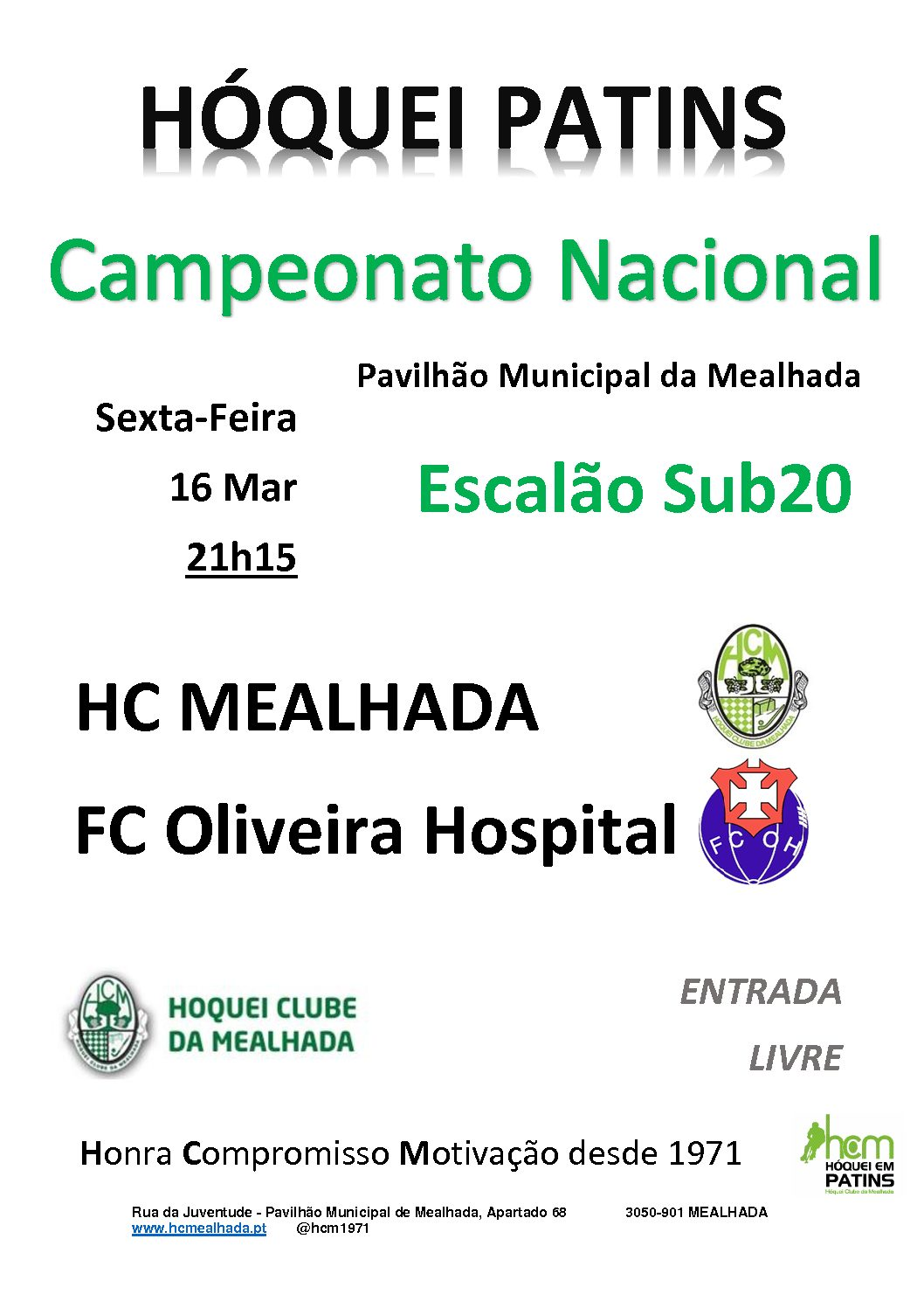 Sub20 do HCM defrontam amanhã à noite o FC Oliveira do Hospital