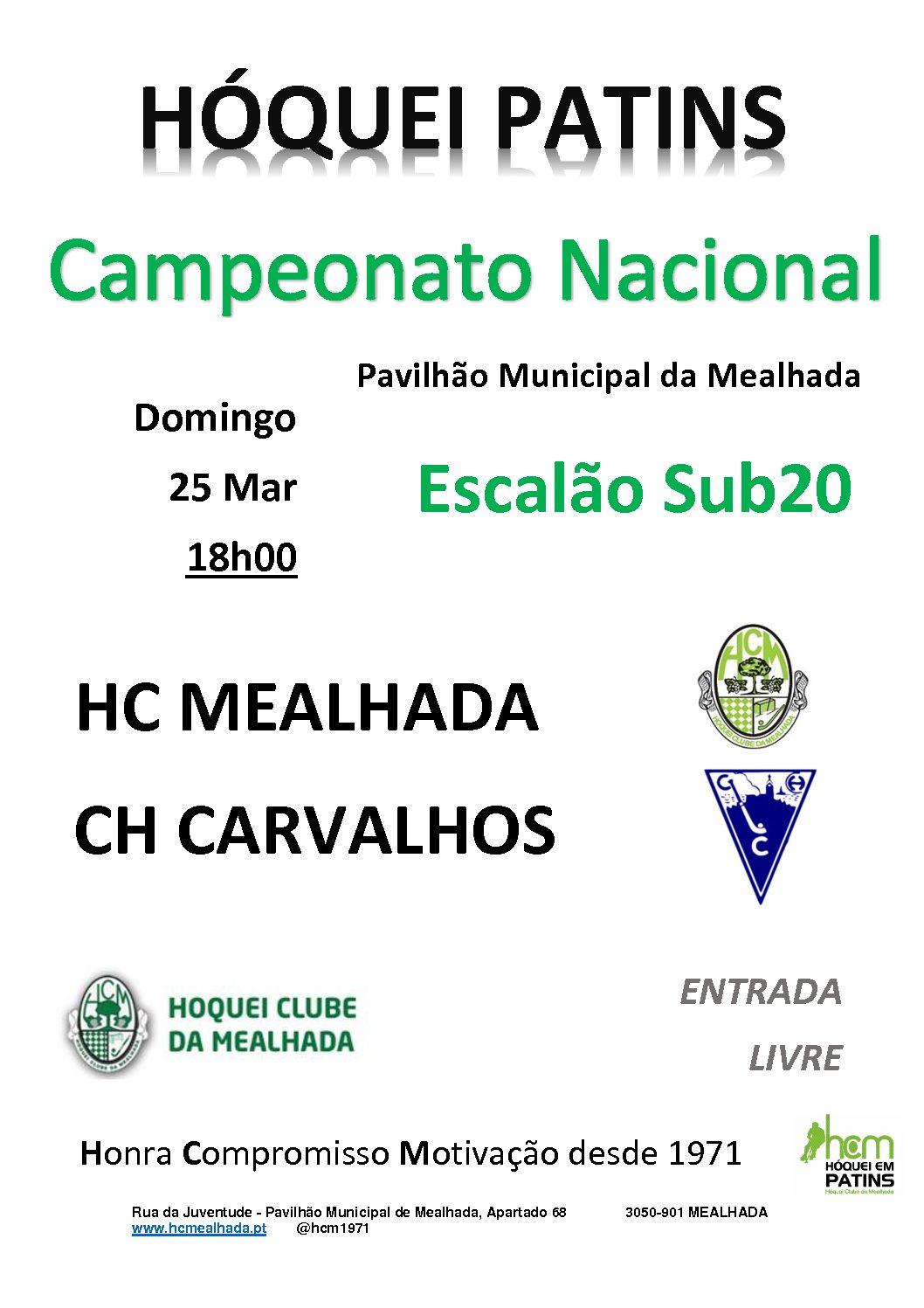 Sub20 do HCM iniciam 2ª volta do Campeonato Nacional em casa, contra o CH Carvalhos