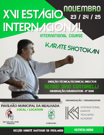 Karaté do HCM organiza o XVI Estágio Internacional de Karate Shotokan nos dias 23,24 e 25 de Novembro