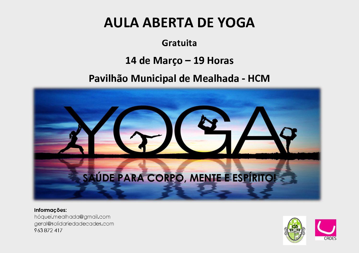 Aula aberta de Yoga no dia 14 de Março no Pavilhão Municipal da Mealhada