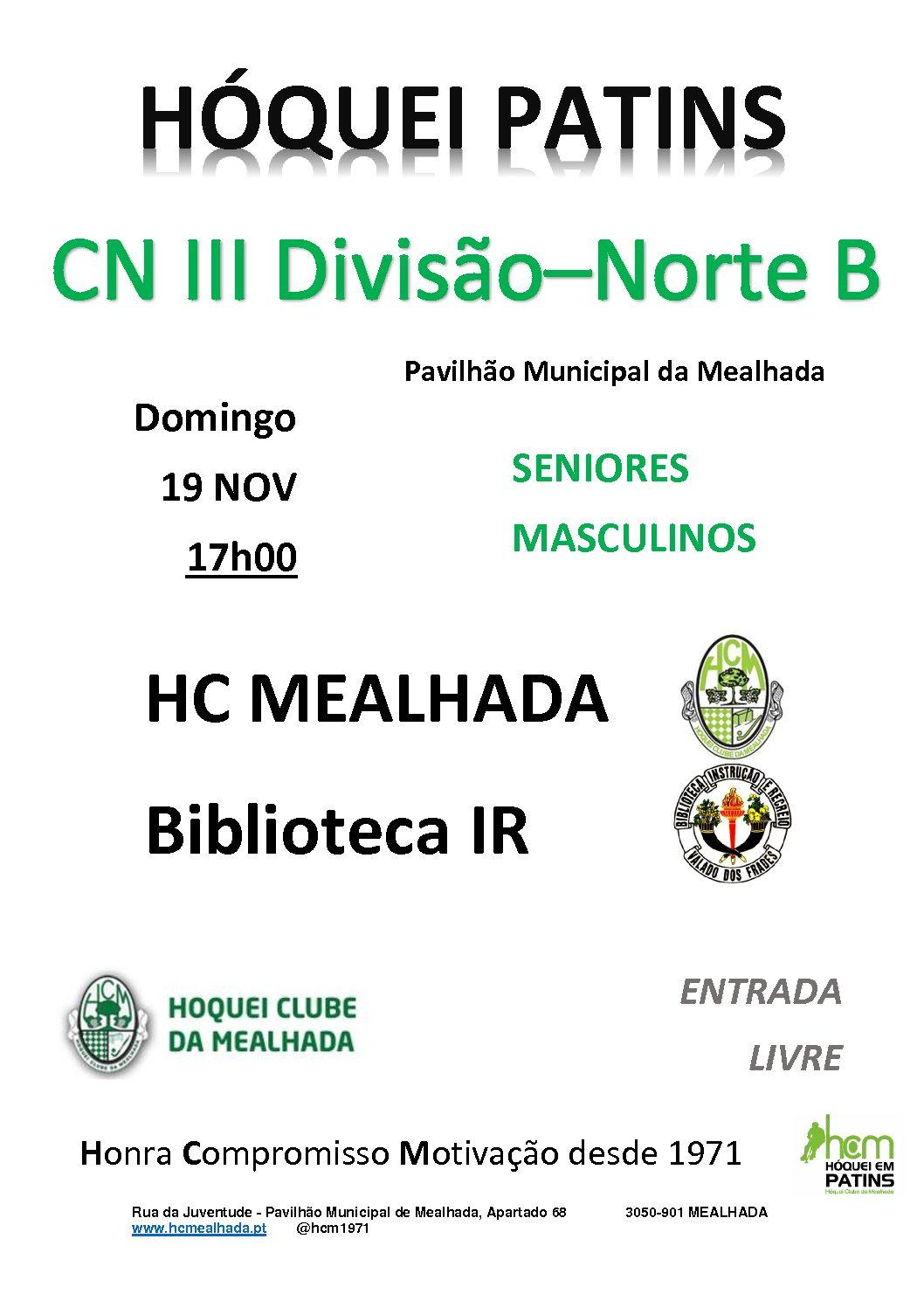 Seniores – HCM x Biblioteca IR – 19 Novembro – 17hrs