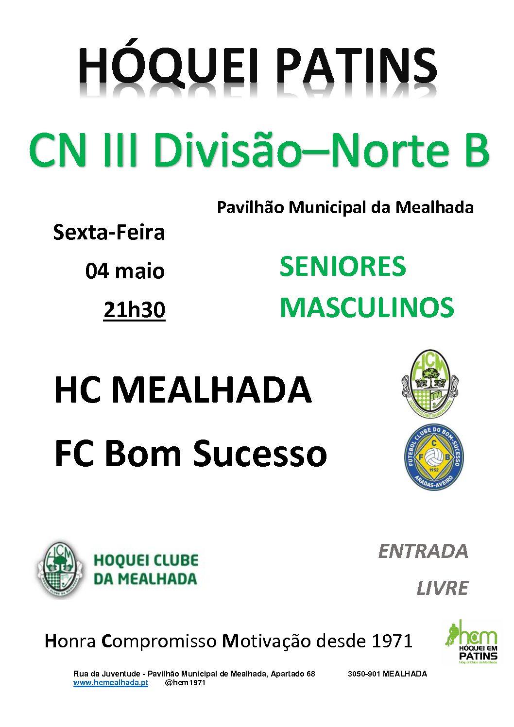 Séniores do HCM jogam hoje em casa com o FC Bom Sucesso